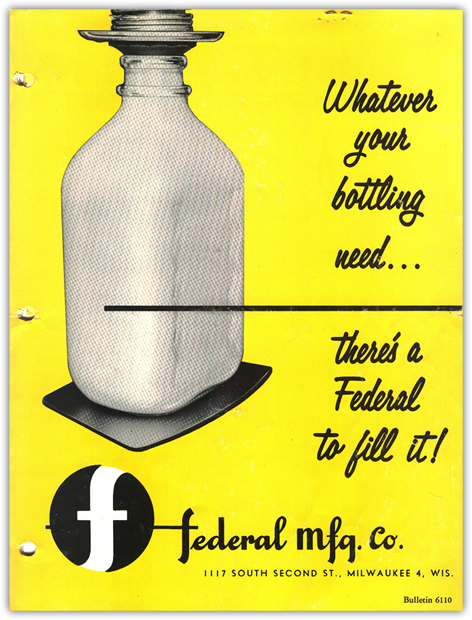 Old Federal Dairy Bottle Fill Advertisement